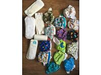 Assorted reusable nappies with liners