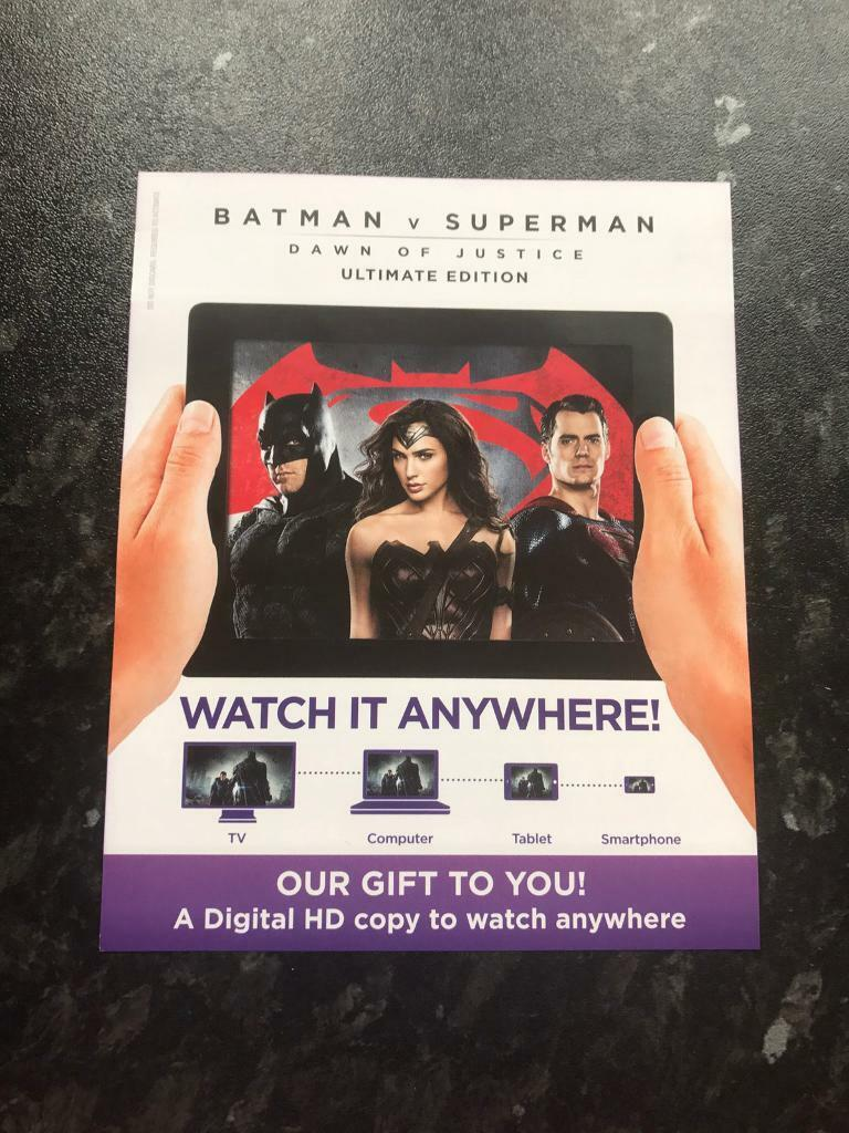 Batman V Superman: Dawn Of Justice Ultimate Edition Digital HD Ultraviolet Code Only
