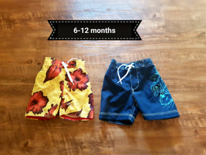 Boys swim shorts and shirts 6 months up to 18 months