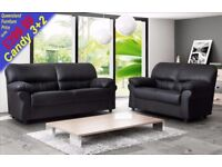 *COME AND VIEW IT ,TRY IT THEN BUY IT* BRAND NEW CANDY LEATHER 3+2 SOFA SUITE BLACK