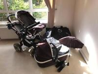 iCandy Peach double (twin) pram/stroller/buggy