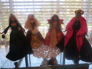 Lot of 4 Collectible Porcelain Barbie Dolls With Stands