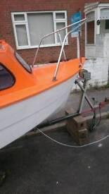 14 foot fiberglass fishing boat for sale