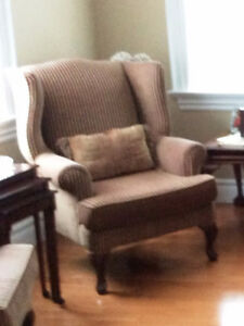 2 Armchairs Stripped Burgundy and Tan beige 880-7725 $550.00