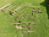 Selection of old garden tools