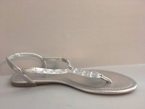 Silver flat sandals   SIZE 9