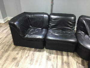 Leather look 5 piece sectional