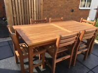 Tiger Teak table and 6 chairs