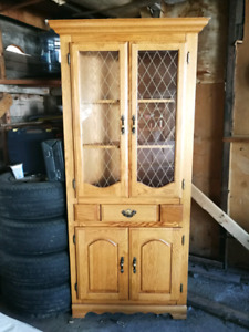 Solid Oak Corner Hutch with Matching  Mirror