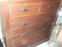 Vintage oak chest of drawers,large