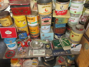 antique tobacco tins and stuff