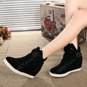 FASHIONABLE WOMEN'S SNEAKERS WITH HIDDEN WEDGE AND FLOCK DESIGN