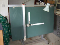 Professional drawing board, engineers drafting head and drafting chair