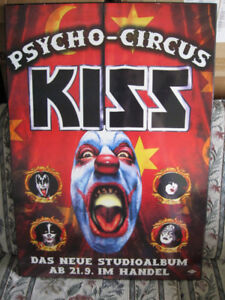 Mounted Kiss Psycho Circus Poster in German-Good condition
