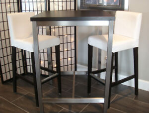 IKEA Utby bar table-brushed STAINLESS STEEL legs & 2 bar stools