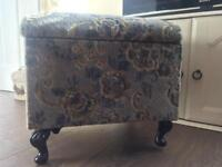 Vintage shabby chic foot stool sewing box puffee