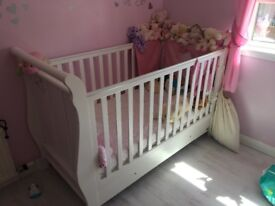 VIB sleigh cot bed with waterproof mattress. Excellent condition