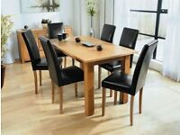 **ASTORIA**BRAND NEW SOLID OAK DINING TABLE SET WITH 6 LEATHER CHAIRS