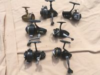 Several fishing reels