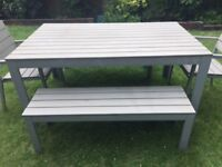 IKEA OUTDOOR DINING TABLE SET (GREY) AND 2 SEATS, 2 BENCHES
