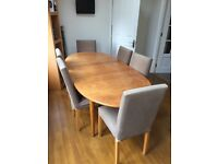 Solid Oak Dining Table and Habitat Chairs,