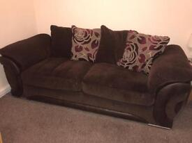 Sofa, swivel chair and 3 pouffes