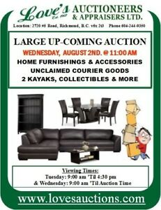 AUCTION - HOME FURNISHINGS & ACCESSORIES WED. AUG. 2ND. @ 11 AM