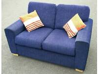 Clean! Blue velvet small 2 seater sofa/ free local delivery available
