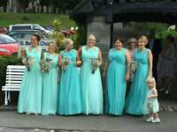 Six stunning bridesmaid dresses, 2 different shades of green - an ice mist and a Jamaican mist