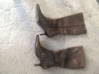 Brown Leather Boots knee high
