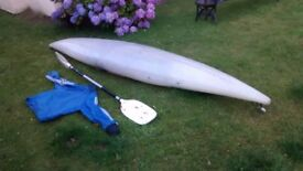Dagger kayak, paddle and spray deck for sale.