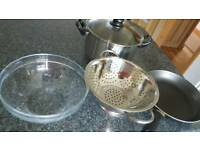 Kitchen bowls culender and frying pan