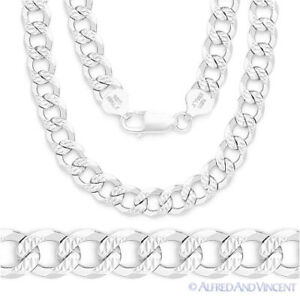 "Mens 24"" Diamond-Stud Italy 925 Silver Chain (Curb Style)"