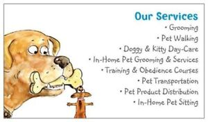 Pet grooming, in home pet sitting, pet day care, pet walking