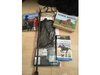 Horse books whip and chaps and hi vis vest