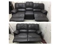 Brown leather 3/2 seater manual recliner sofas comfortable