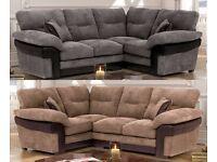 **5 YEAR WARRANTY!** Samson Luxury Jumbo Cord Corner Sofa Suite - BRAND NEW!