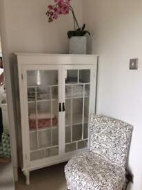 Glass Display cabinet - White, Linen Cupboard
