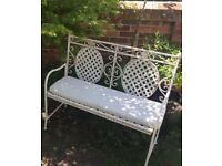 Cream metal garden folding bench and seat pad
