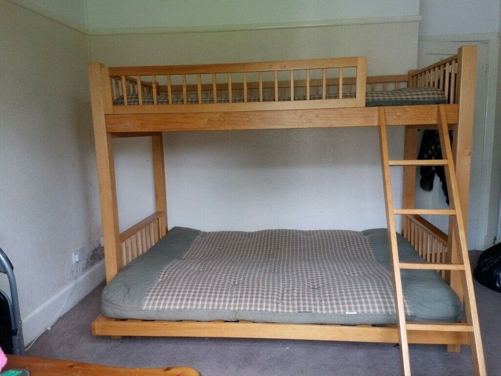 Pine Bunk Beds Single Top Double Bottom Bottom Can Convert To