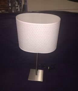 Lamp Occasional W/White Resin Rattan Pattern Shade
