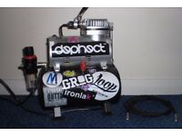 Airbrush, air tank and compressor