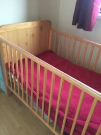 Stylish children cot with mattresses