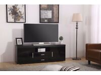OHIO High Gloss Black 2 door 2 drawer TV Stand Unit Cabinet