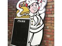 Large vintage wooden restaurant pub menu board cook chef