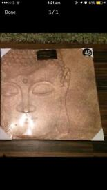 Copper sparkly 3D Buddha canvas