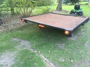 8 by 9 ft long flat deck trailer with side ramp
