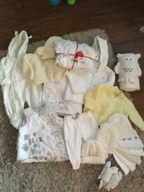 White, cream & yellow baby clothes bundle