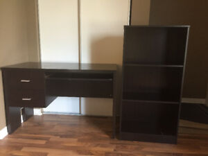 Used desk and book shelf