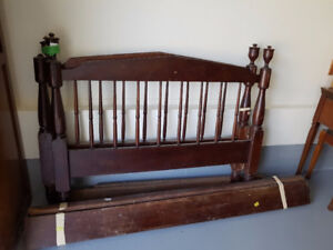 Antique Solid Walnut Bed Frame (Double)
